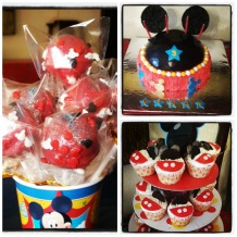 Cake pops, birthday cake and cupcakes